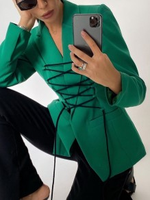 Green Pockets Bandage Turndown Collar Going Out Blazer