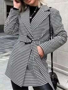Black White Buttons Belt Houndstooth Turndown Collar Fashion Blazer