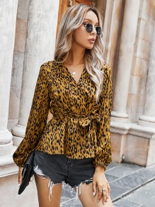Brown Leopard Belt V-neck Long Sleeve Elegant Fashion Blouse
