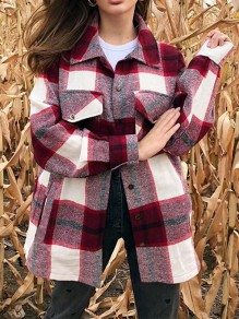 Red Plaid Buttons Pockets Turndown Collar Long Sleeve Vintage Blouse