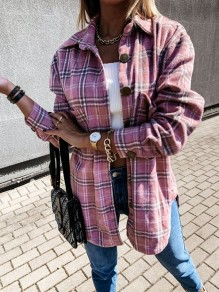 Pink Plaid Buttons Turndown Collar Long Sleeve Vintage Blouse