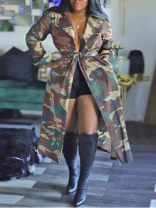 Army Green Camouflage Print Sashes Pockets Turndown Collar Casual Trench Coat