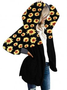 Black Sunflowers Print Pockets Teddy Fuzzy Casual Hooded Coat