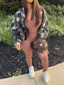 Army Green Camouflage Casual Cardigan Coat