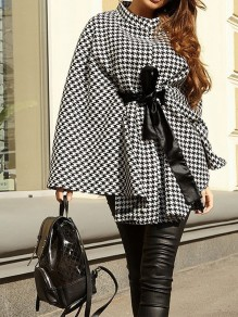 Black Plaid Belt Fashion Cape