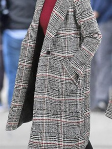 Grey Plaid Buttons Pockets Turndown Collar Fashion Wool Coat