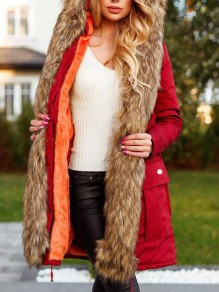 Red Patchwork Faux Fur Pockets Hooded Parka Cardigan Coat