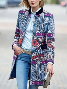 Multicolor Floral Buttons Turndown Collar Fashion Jacket