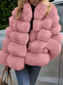 Pink Pockets Faux Fur Band Collar Bubble Casual Cardigan Coat
