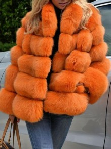 Orange Pockets Faux Fur Band Collar Bubble Casual Cardigan Coat