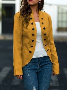 Yellow Patchwork Buttons Irregular Long Sleeve Going out Jacket
