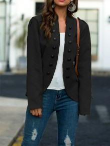 Black Patchwork Buttons Irregular Long Sleeve Going out Jacket