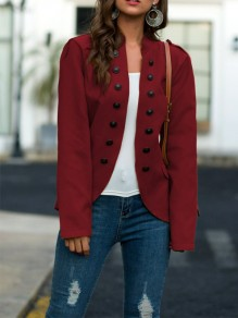 Red Patchwork Buttons Irregular Long Sleeve Going out Jacket