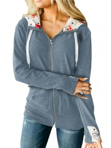 Grey Patchwork Zipper Long Sleeve Hooded Fashion Jacket