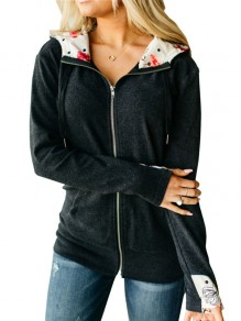 Black Patchwork Zipper Long Sleeve Hooded Fashion Jacket