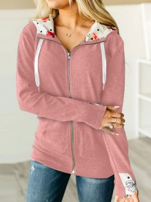 Pink Patchwork Zipper Long Sleeve Hooded Fashion Jacket
