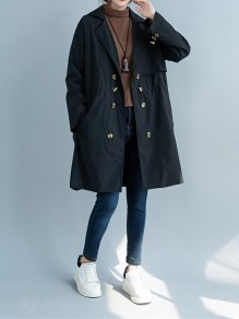 Black Patchwork Drawstring Turndown Collar Going out Trench Coat