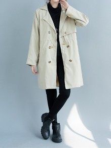 Beige Patchwork Drawstring Turndown Collar Going out Trench Coat