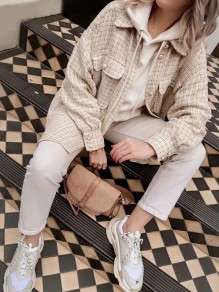 Beige Plaid Buttons Pockets Turndown Collar Long Sleeve Outerwear