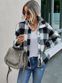 Black White Plaid Pockets Single Breasted Band Collar Cute Outerwear Coat