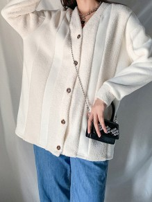 Apricot Buttons V-neck Long Sleeve Fashion Outerwear Coat