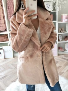 Grey Solid Color Pockets Turndown Collar Fashion Outerwear Coat