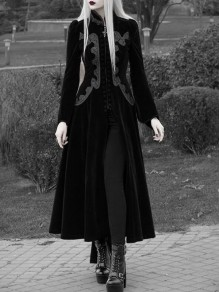Black Single Breasted Embroidery Pleuche Band Collar Cosplay Vintage Trench Coat
