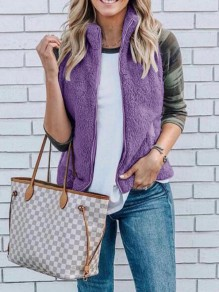 Purple Faux Fur Fuzzy Zipper Band Collar Plus Size Vest Coat