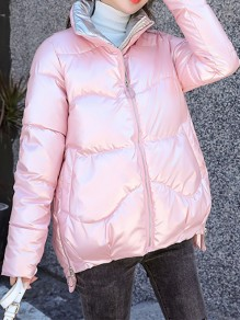 Pink Patchwork Zipper Pockets Band Collar Honey Girl Padded Coat