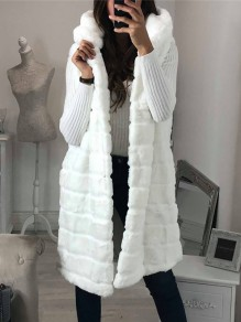 White Patchwork Sleeveless Hooded Honey Girl Fur Coat