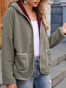 Grey Patchwork Pockets Long Sleeve Hooded Going out Coat