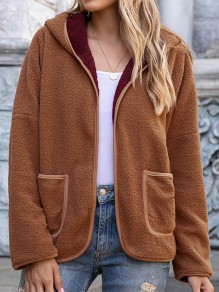 Brown Patchwork Pockets Long Sleeve Hooded Going out Coat