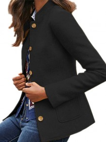 Black Patchwork Buttons Pockets Tailored Collar Going out Wool Coat