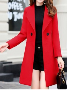 Red Patchwork Buttons Turndown Collar Going out Wool Coat