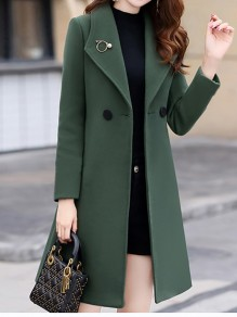 Green Patchwork Buttons Turndown Collar Going out Wool Coat