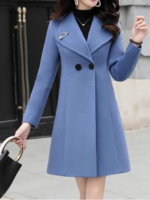 Blue Patchwork Buttons Turndown Collar Going out Wool Coat