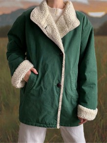 Green Patchwork Buttons Pockets Turndown Collar Fashion Jacket