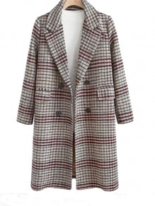 Grey Plaid Buttons Pockets Turndown Collar Going out Wool Coat