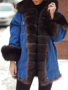 Brown Patchwork Buttons Pockets Plus Size Going out Fur Coat