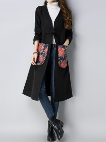 Black Flowers Print Pockets Long Sleeve Going out Wool Coat