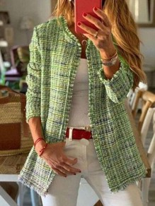 Green Plaid Long Sleeve Round Neck Going out Jacket
