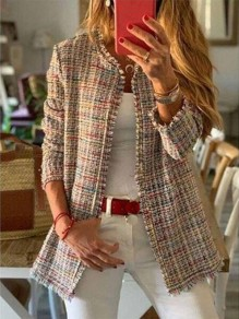 Khaki Plaid Long Sleeve Round Neck Going out Jacket