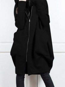 Black Patchwork Zipper Pockets Plus Size Hooded Going out Jacket