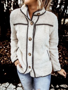Beige Patchwork Buttons Long Sleeve Band Collar Fashion Jacket