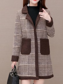 Coffee Plaid Pockets Turndown Collar Going out Wool Coat