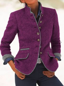 Purple Patchwork Pockets Turndown Collar Fashion Wool Coat