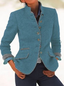 Blue Patchwork Pockets Turndown Collar Fashion Wool Coat