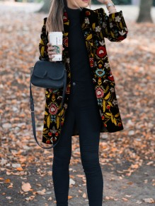Black Flowers Print Turndown Collar Going out Wool Coat