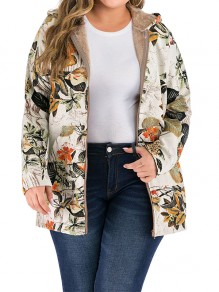 Apricot Floral Zipper Pockets Plus Size Hooded Fashion Jacket