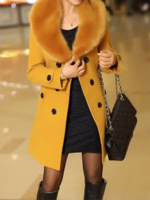Yellow Patchwork Buttons Plus Size Fur Collar Going out Wool Coat